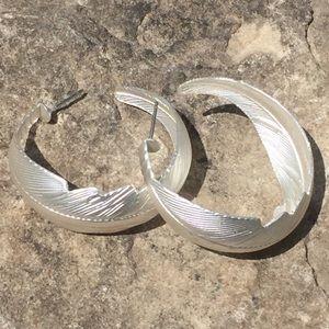 Silver Hoop Palm Frond Earrings